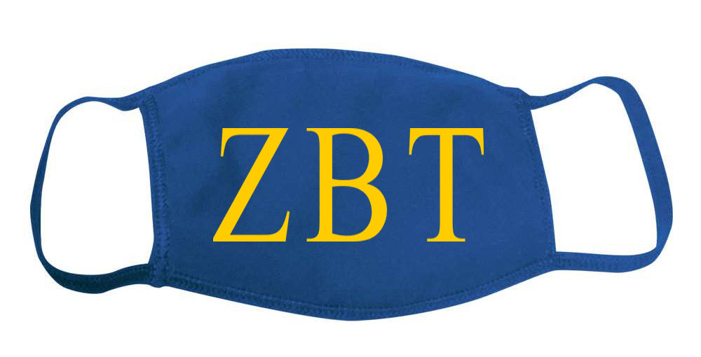 Zeta Beta Tau Face Mask With Big Greek Letters