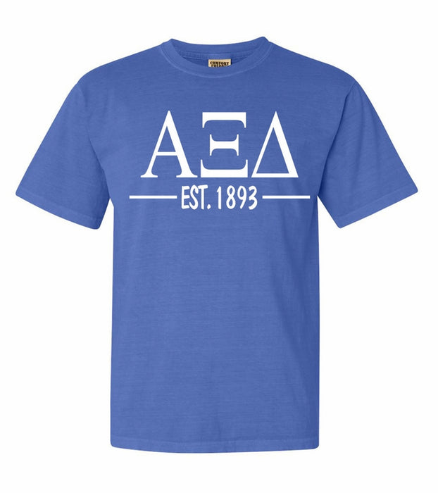 Alpha Xi Delta Comfort Colors Established Sorority T-Shirt