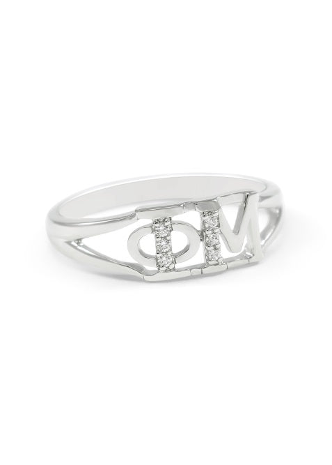 Phi Mu Sterling Silver Ring with Lab Created Clear Diamond