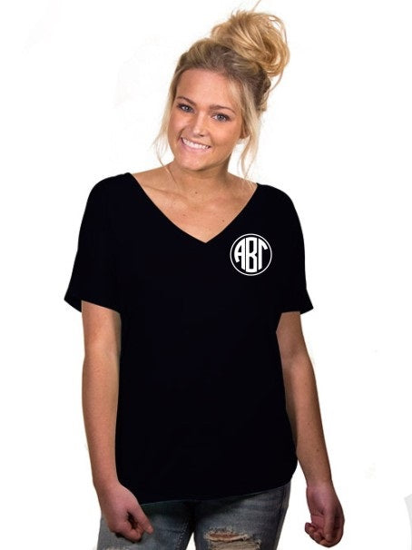 Sorority Monogram Slouchy V-neck Tee
