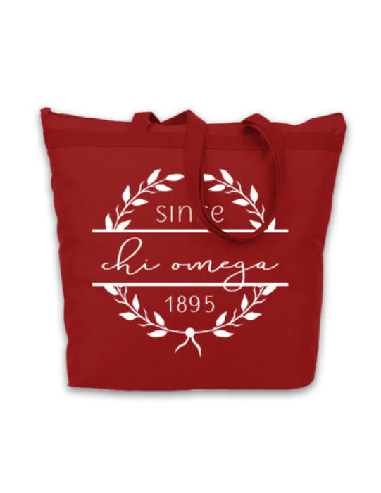 Chi Omega Since Established Tote
