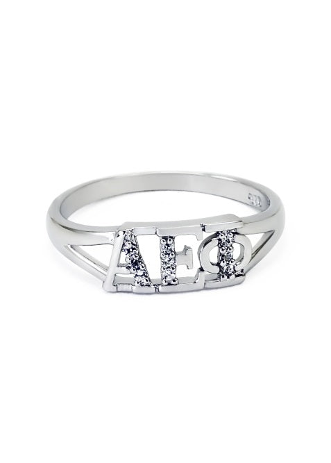 Alpha Epsilon Phi Sterling Silver Ring with Lab Created Clear Diamond