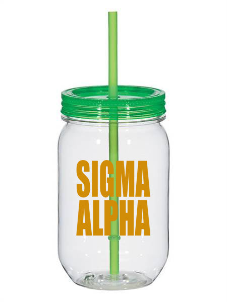 Sigma Alpha Big Stacked Greek 25oz Mason Jar