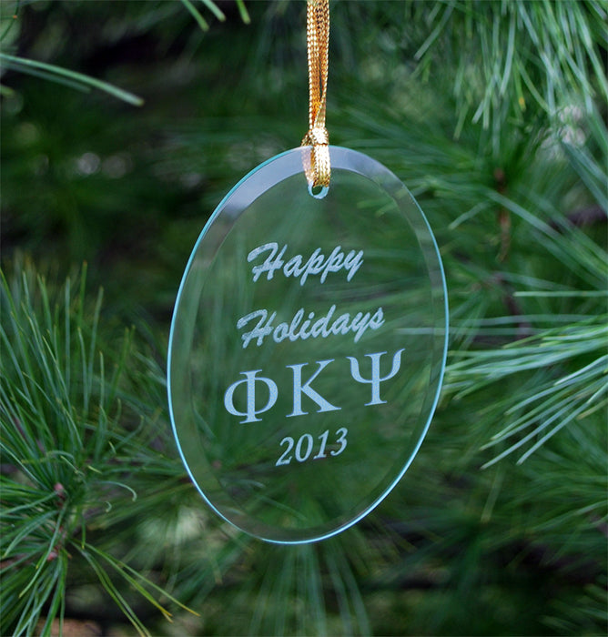 Phi Kappa Psi Engraved Glass Ornament