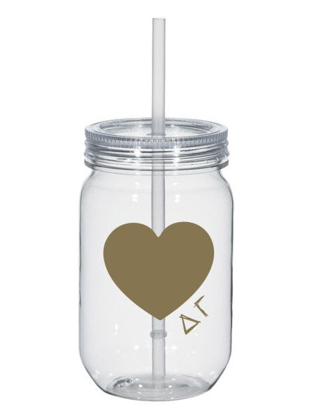 Delta Gamma 25oz Scribbled Heart Mason Jar