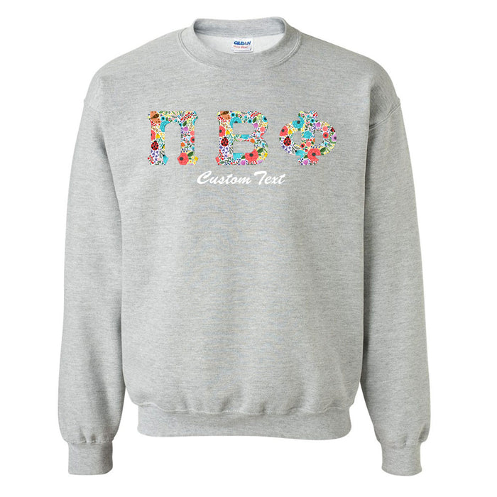 Pi Beta Phi Crewneck Letters Sweatshirt with Custom Embroidery