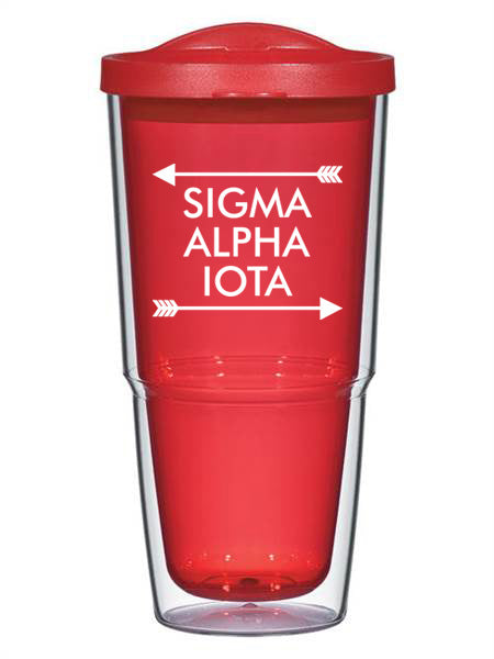 Sigma Alpha Iota Arrow Top Bottom 24oz Tumbler with Lid
