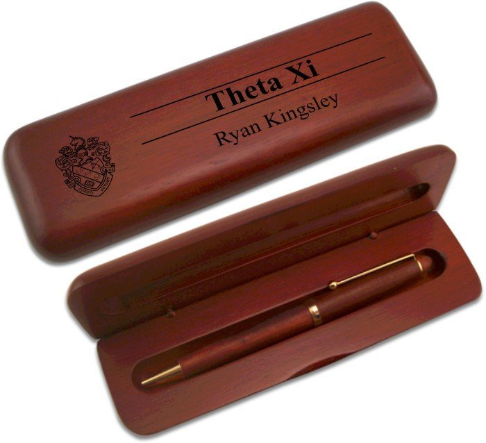 Theta Xi Wooden Pen Case & Pen