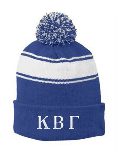 Kappa Beta Gamma Embroidered Pom Pom Beanie