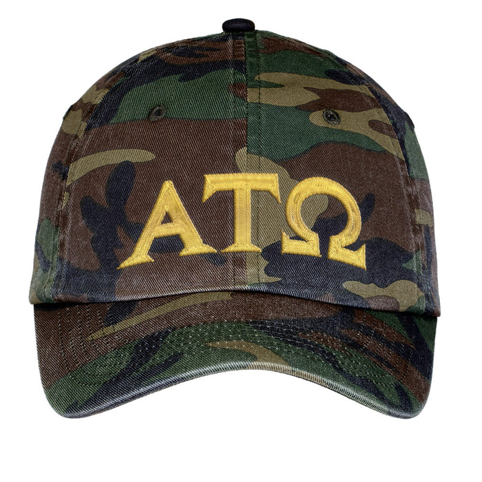Alpha Tau Omega Letters Embroidered Camouflage Hat