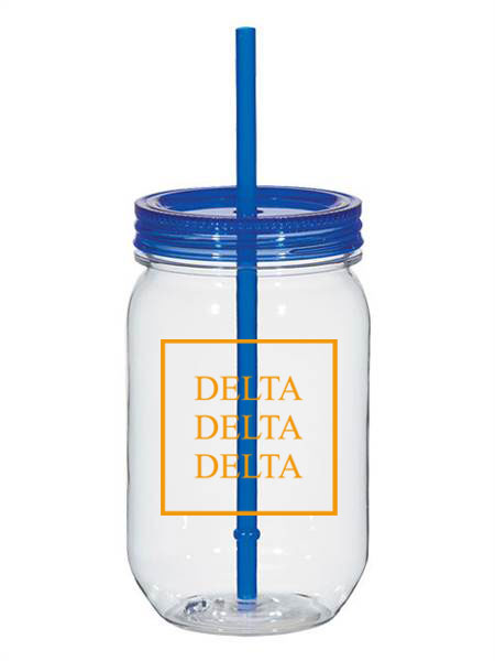 Delta Delta Delta Box Stacked 25oz Mason Jar