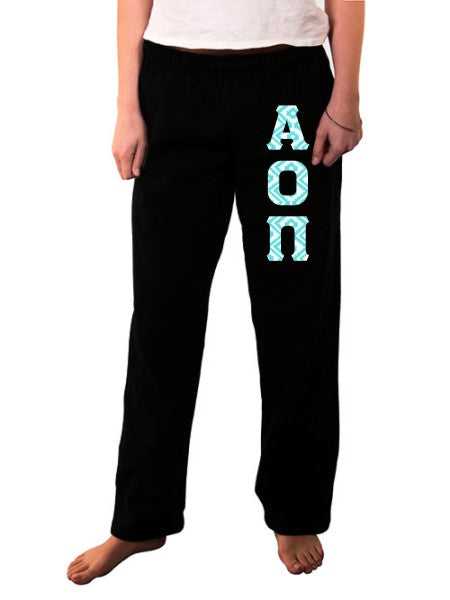 Alpha Omicron Pi Open Bottom Sweatpants with Sewn-On Letters