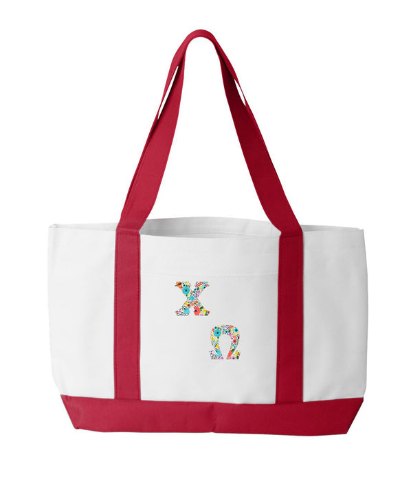 Chi Omega 2-Tone Boat Tote with Sewn-On Letters