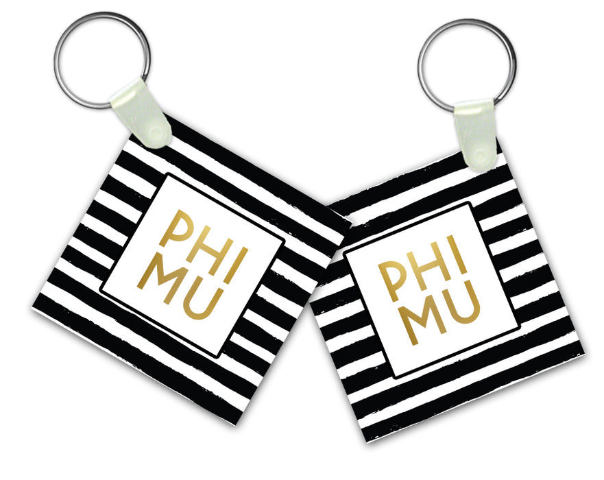 Phi Mu Striped Gold Keychain