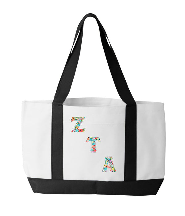 Zeta Tau Alpha 2-Tone Boat Tote with Sewn-On Letters