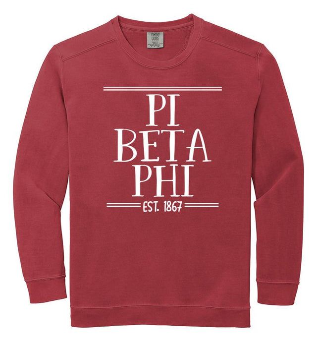 Pi Beta Phi Comfort Colors Custom Sorority Sweatshirt