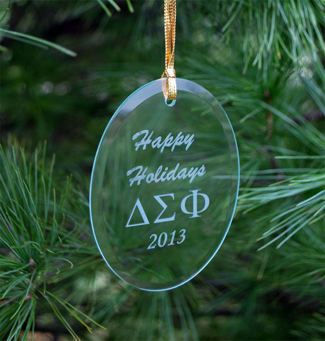 Delta Sigma Phi Engraved Glass Ornament