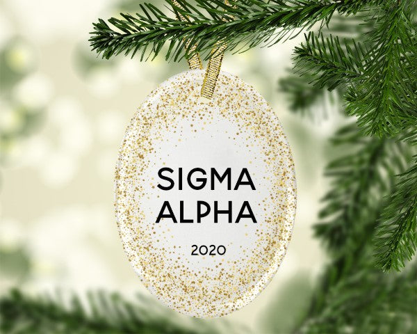 Sigma Alpha Gold Speckled Glass Ornament
