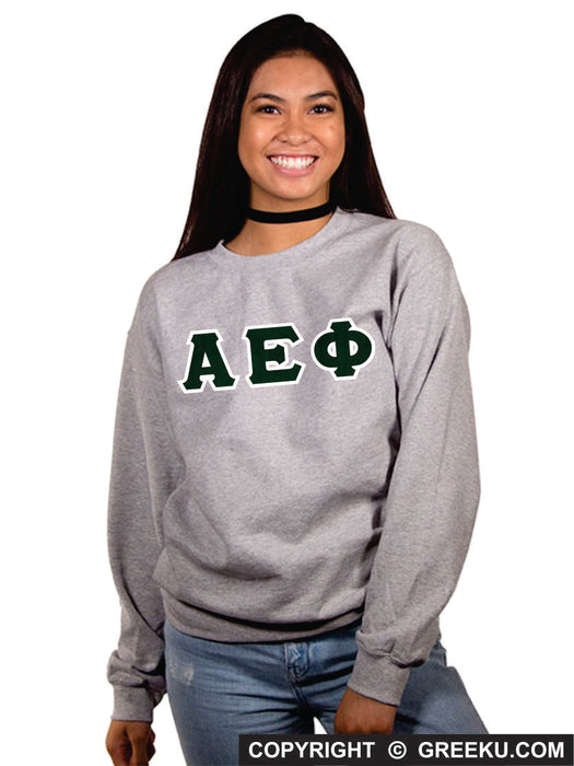 Alpha Epsilon Phi Classic Colors Sewn-On Letter Crewneck