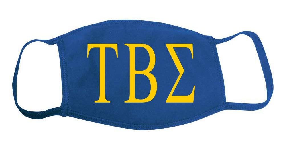 Tau Beta Sigma Face Mask With Big Greek Letters