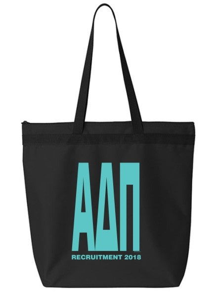 Alpha Delta Pi Impact Letters Zippered Poly Tote