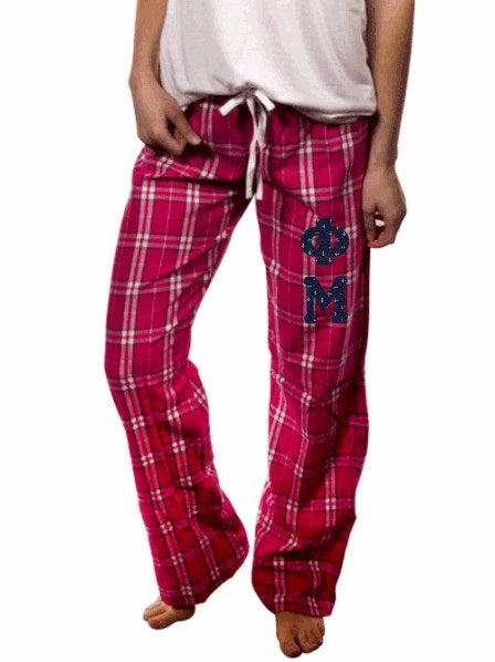Phi Mu Pajama Pants with Sewn-On Letters