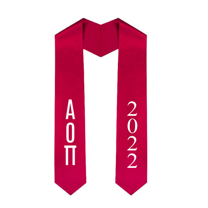 Alpha Omicron Pi Vertical Grad Stole with Letters & Year