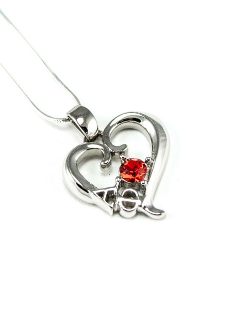 Sorority Sterling Silver Heart Pendant with Colored Swarovski Crystal