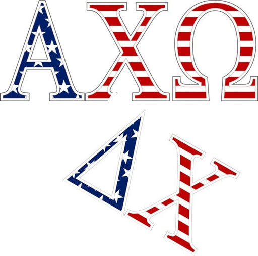 Sorority American Flag Letter Sticker - 2.5