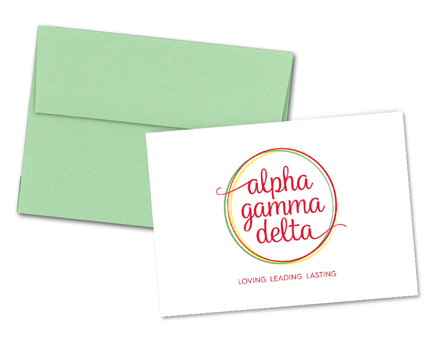 Alpha Gamma Delta Sorority Crest Note Cards