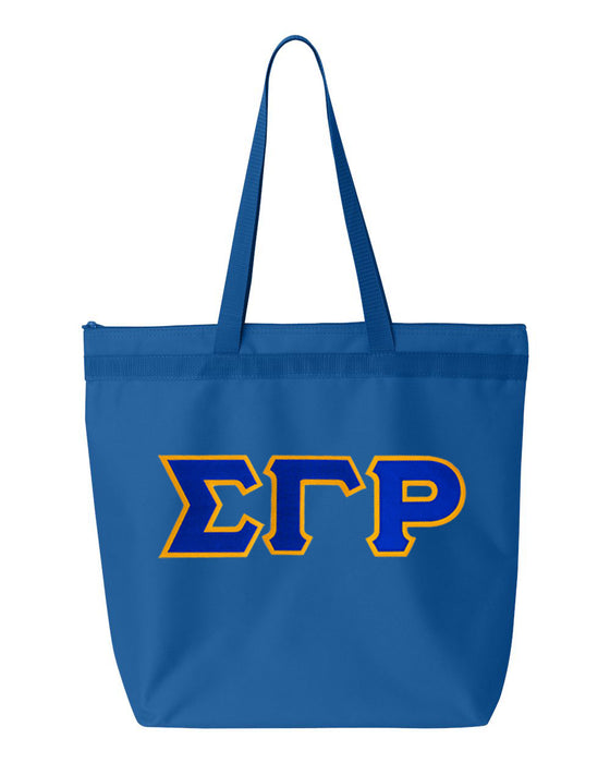 Sigma Gamma Rho Greek Lettered Game Day Tote