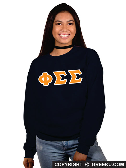 Phi Sigma Sigma Classic Colors Sewn-On Letter Crewneck