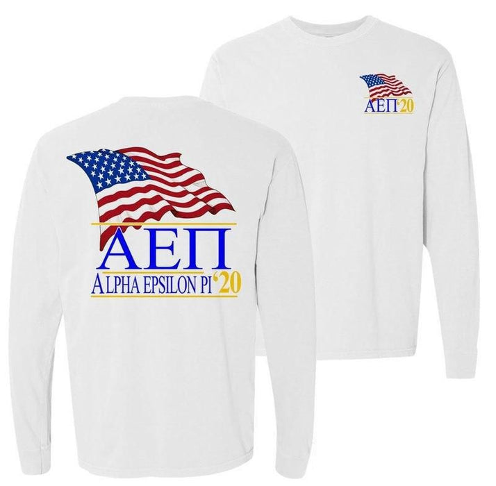 Alpha Epsilon Pi Patriot Flag Comfort Colors Long Tee