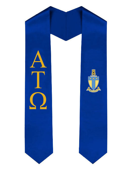Alpha Tau Omega Lettered Graduation Sash Stole with Crest