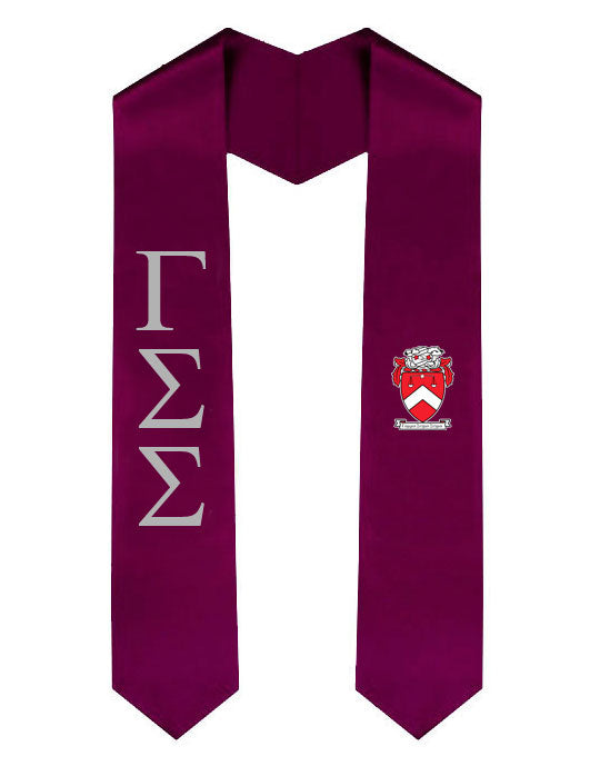 Gamma Sigma Sigma Lettered Graduation Sash Stole with Crest