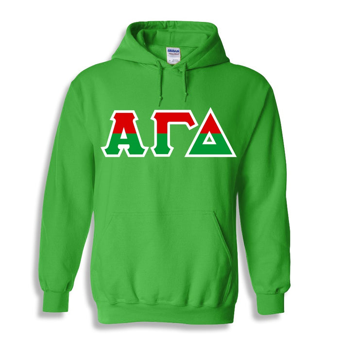 Alpha Gamma Delta Two Toned Lettered Hooded Sweatshirt