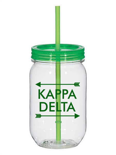 Kappa Delta Arrow Top Bottom 25oz Mason Jar