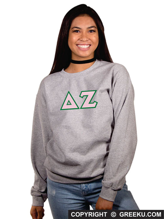 Delta Zeta Classic Colors Sewn-On Letter Crewneck