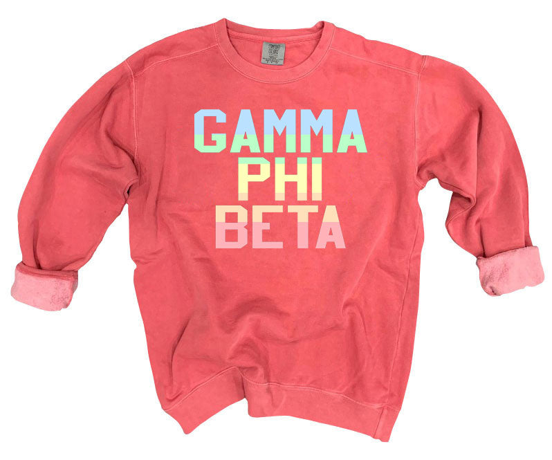Gamma Phi Beta Comfort Colors Pastel Sorority Sweatshirt
