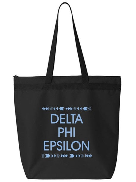 Delta Phi Epsilon Arrow Top Bottom Tote Bag