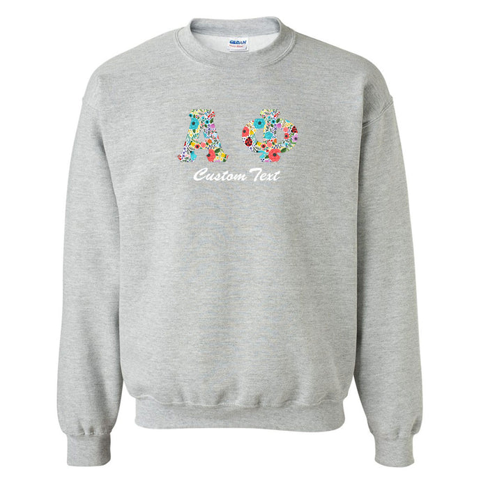 Alpha Phi Crewneck Letters Sweatshirt with Custom Embroidery