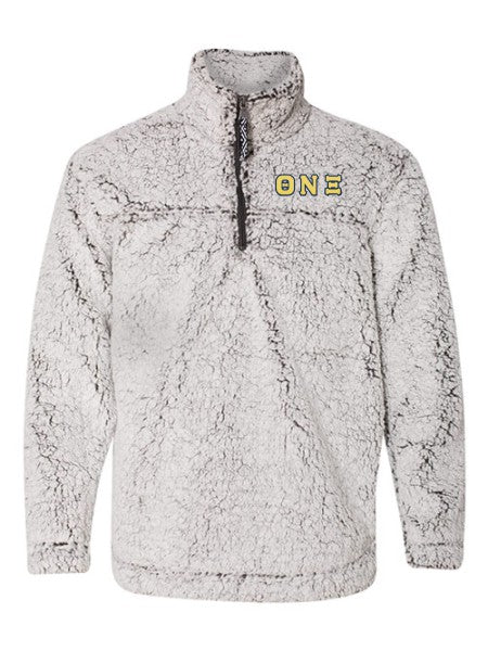 Theta Nu Xi Embroidered Sherpa Quarter Zip Pullover