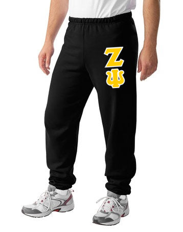 Zeta Psi Sweatpants with Sewn-On Letters
