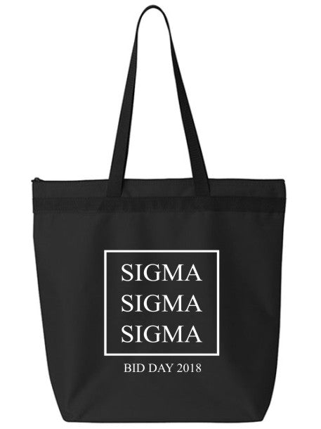 Sigma Sigma Sigma Box Stacked Event Tote Bag