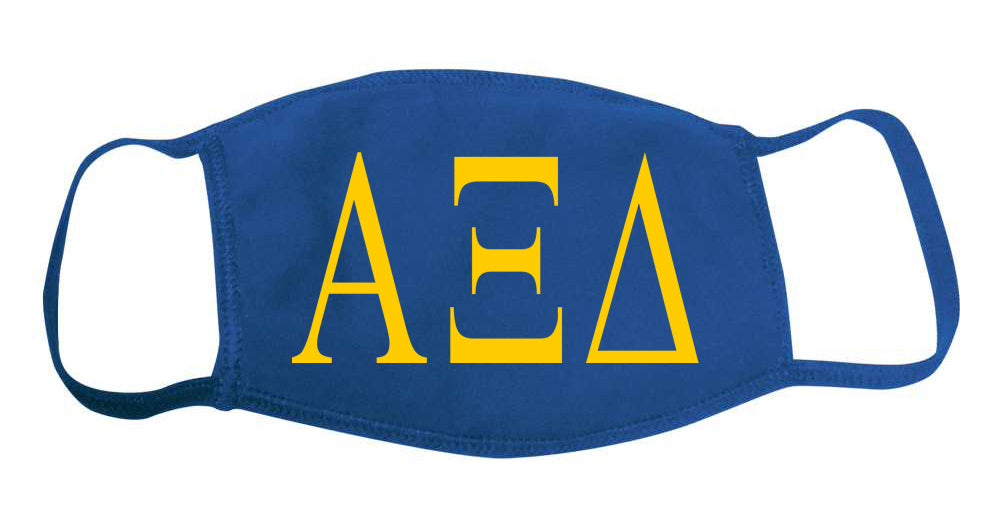 Alpha Xi Delta Face Mask With Big Greek Letters