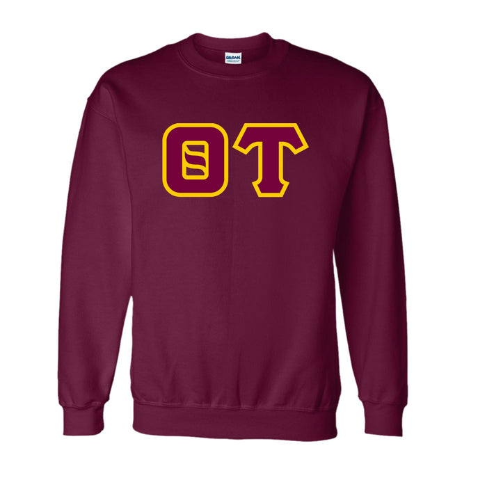Theta Tau Classic Colors Sewn-On Letter Crewneck