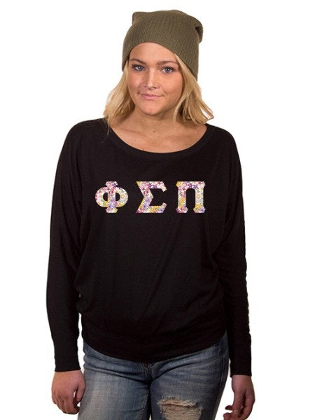 Phi Sigma Pi Off the Shoulder Flowy Long Sleeve Shirt with Letters
