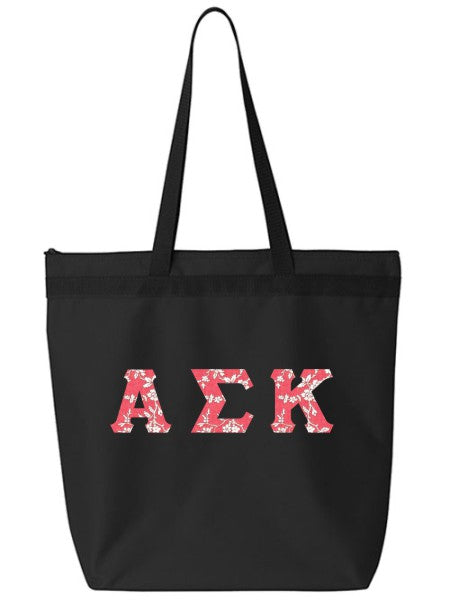 Alpha Sigma Kappa Large Zippered Tote Bag with Sewn-On Letters
