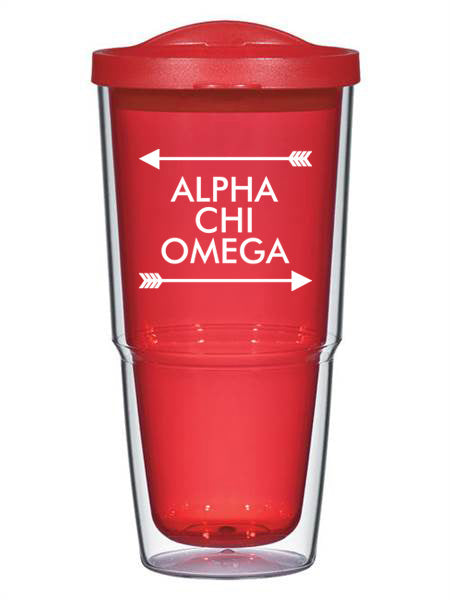 Alpha Chi Omega Arrow Top Bottom 24oz Tumbler with Lid