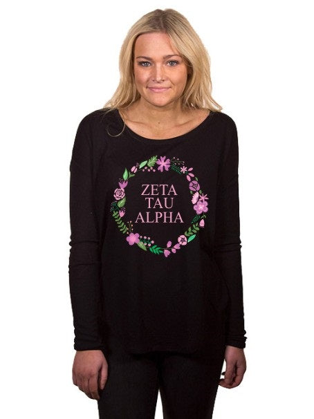 Zeta Tau Alpha Floral Wreath Flowy Long Sleeve Tee